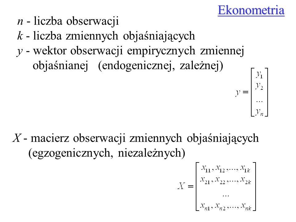 Ekonometria n - liczba obserwacji k - liczba zmiennych objaśniających