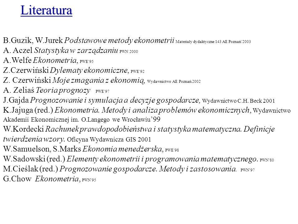 Literatura B.Guzik, W.Jurek Podstawowe metody ekonometrii Materiały dydaktyczne 143 AE Poznań'2003.