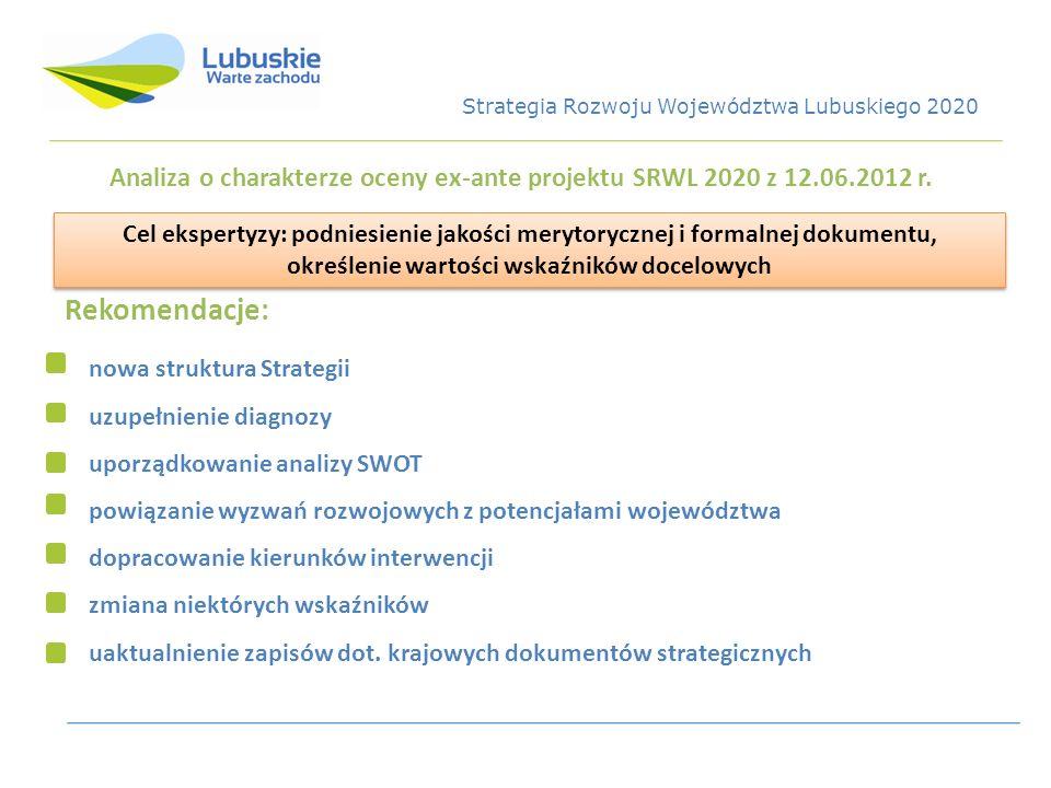 Analiza o charakterze oceny ex-ante projektu SRWL 2020 z 12.06.2012 r.