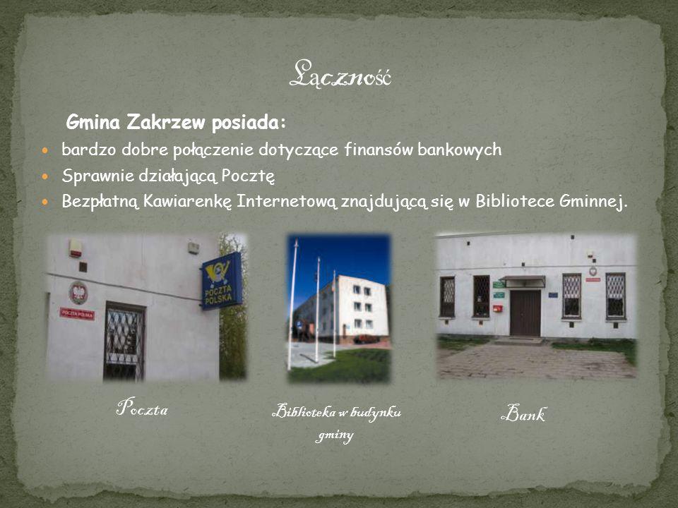 Łączność Poczta Bank Biblioteka w budynku gminy Gmina Zakrzew posiada: