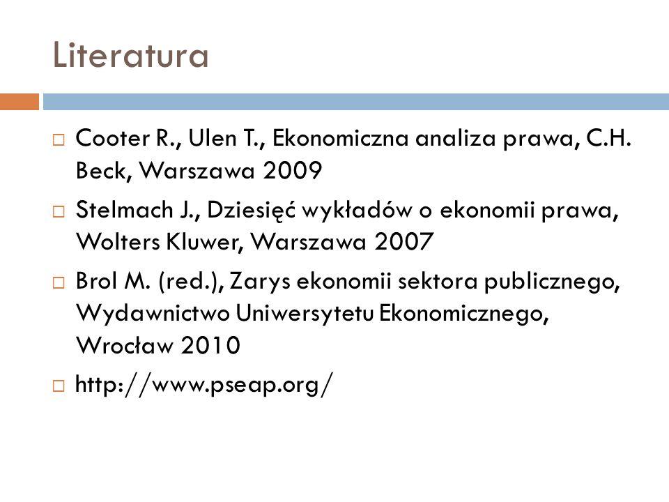 Literatura Cooter R., Ulen T., Ekonomiczna analiza prawa, C.H. Beck, Warszawa 2009.