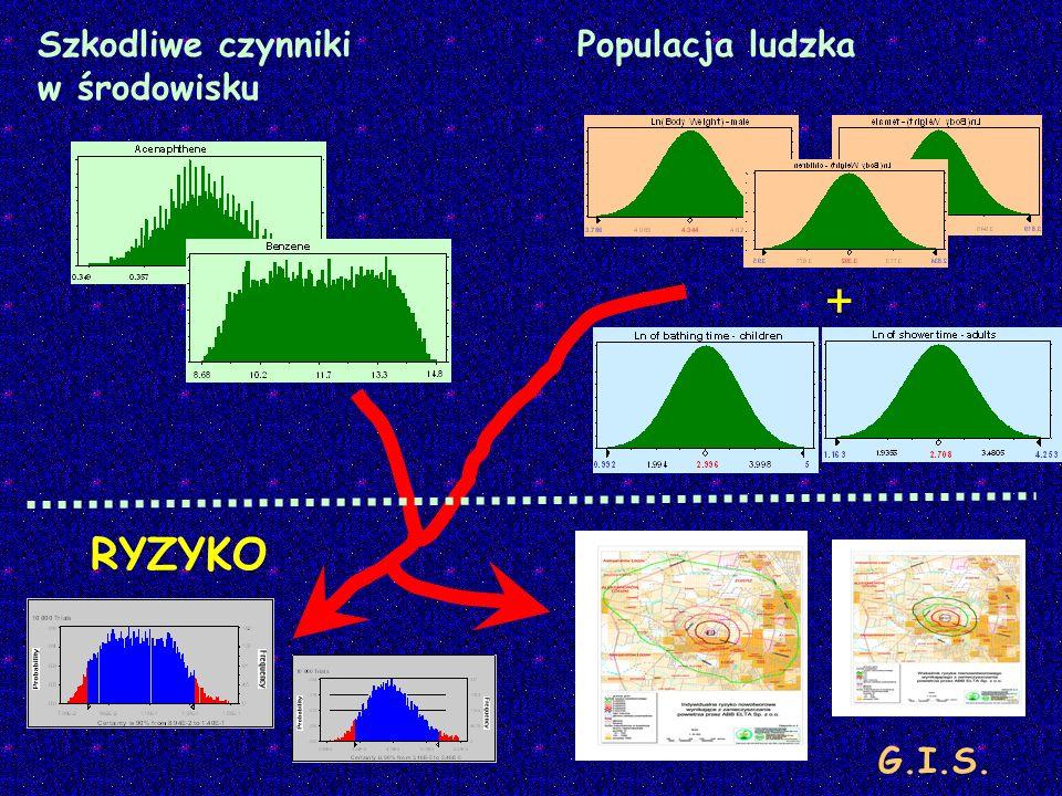 Szkodliwe czynniki w środowisku Populacja ludzka + RYZYKO G.I.S.