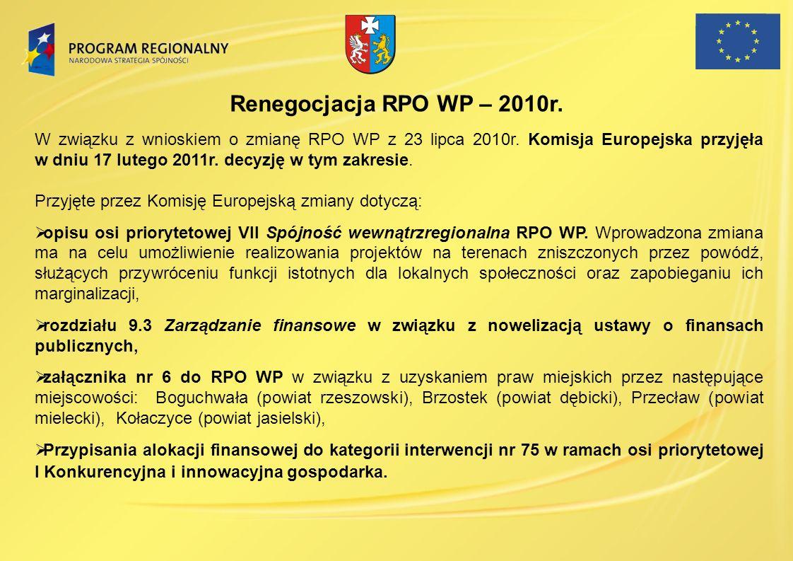 Renegocjacja RPO WP – 2010r.