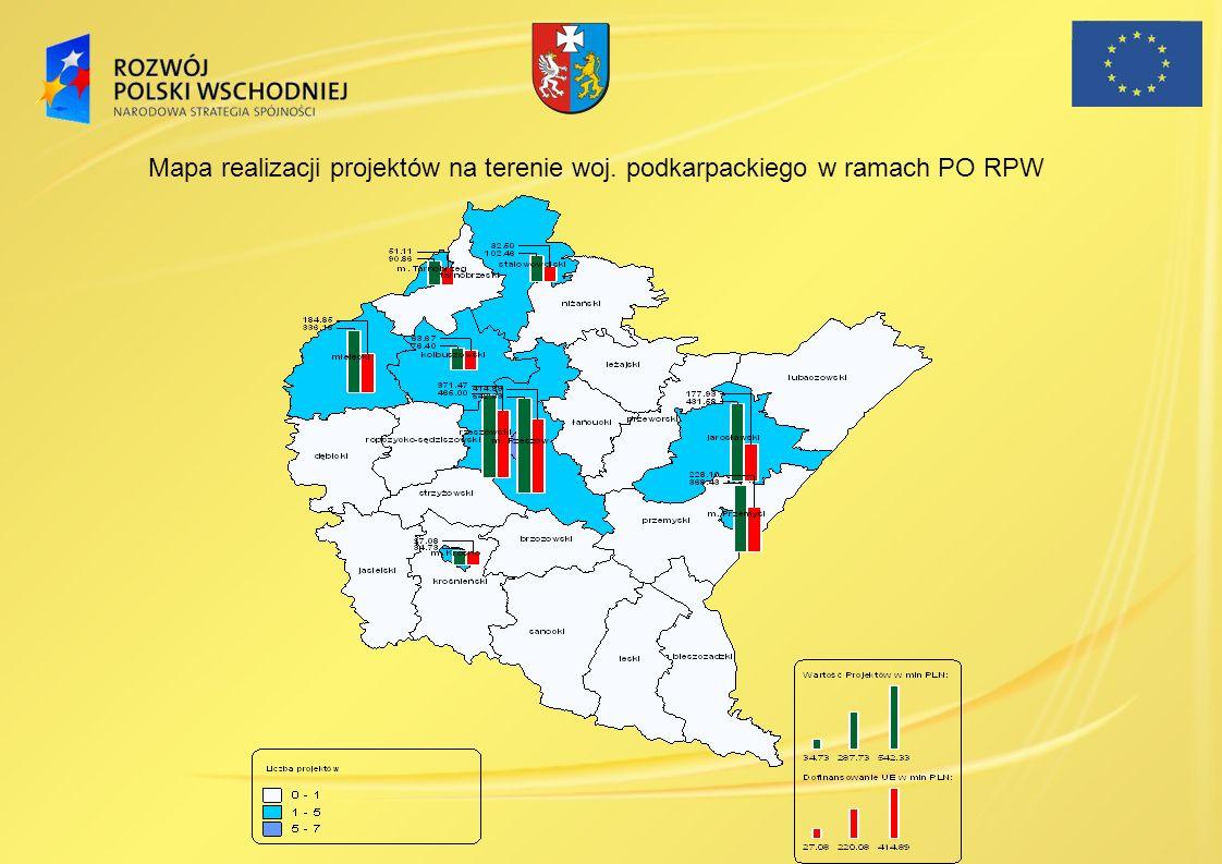 Mapa realizacji projektów na terenie woj
