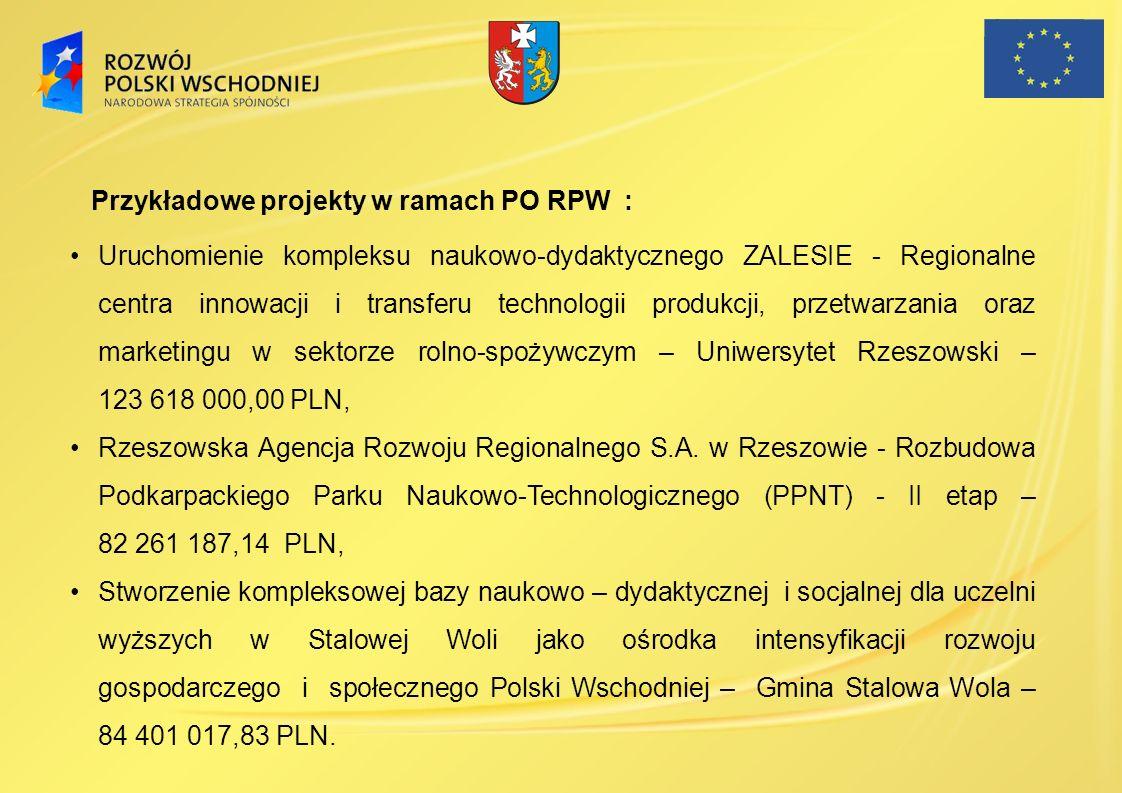 Przykładowe projekty w ramach PO RPW :