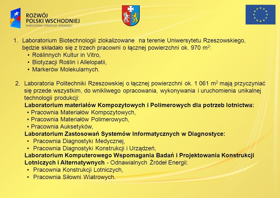 Laboratorium Biotechnologii zlokalizowane na terenie Uniwersytetu Rzeszowskiego, będzie składało się z trzech pracowni o łącznej powierzchni ok. 970 m2: