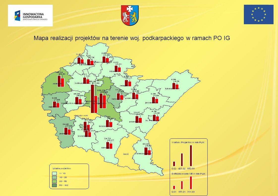 Mapa realizacji projektów na terenie woj. podkarpackiego w ramach PO IG