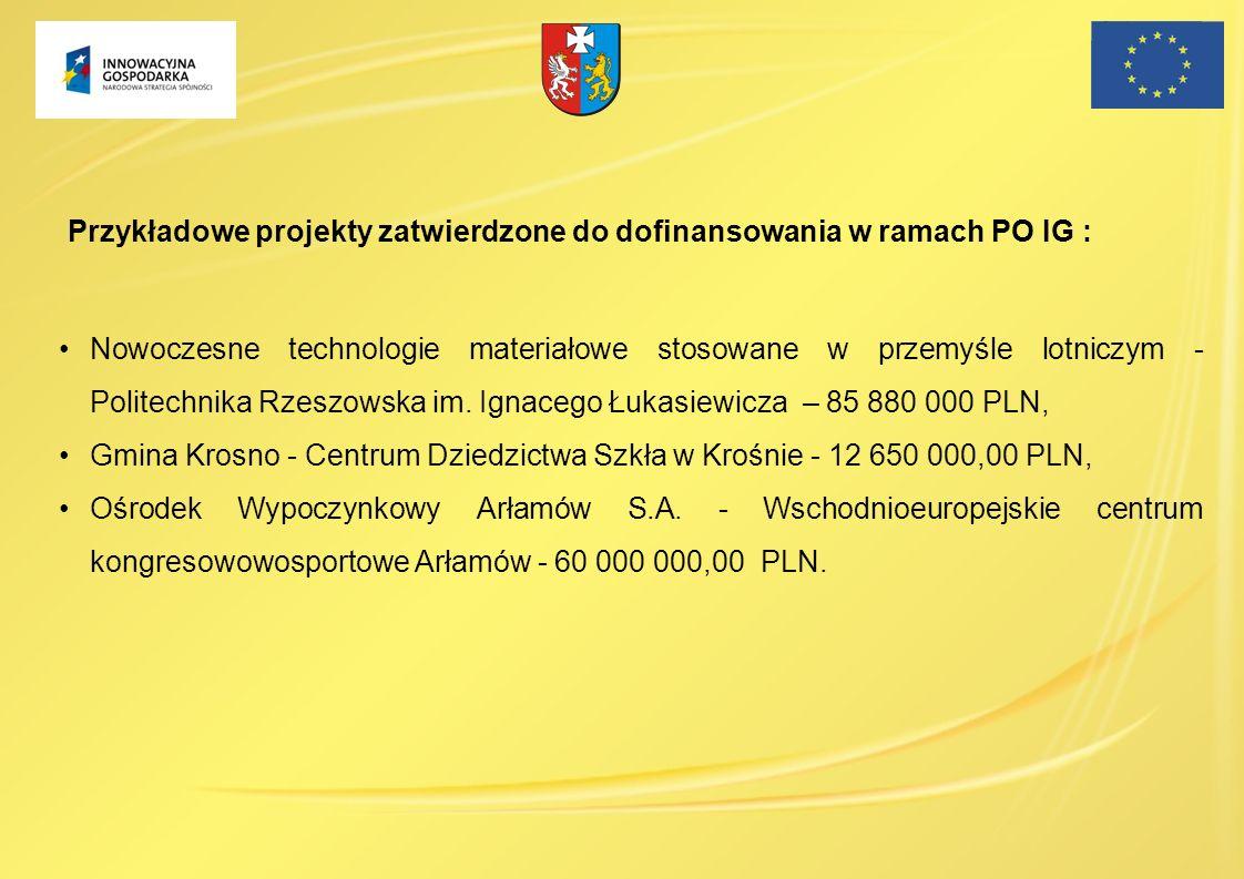 Przykładowe projekty zatwierdzone do dofinansowania w ramach PO IG :