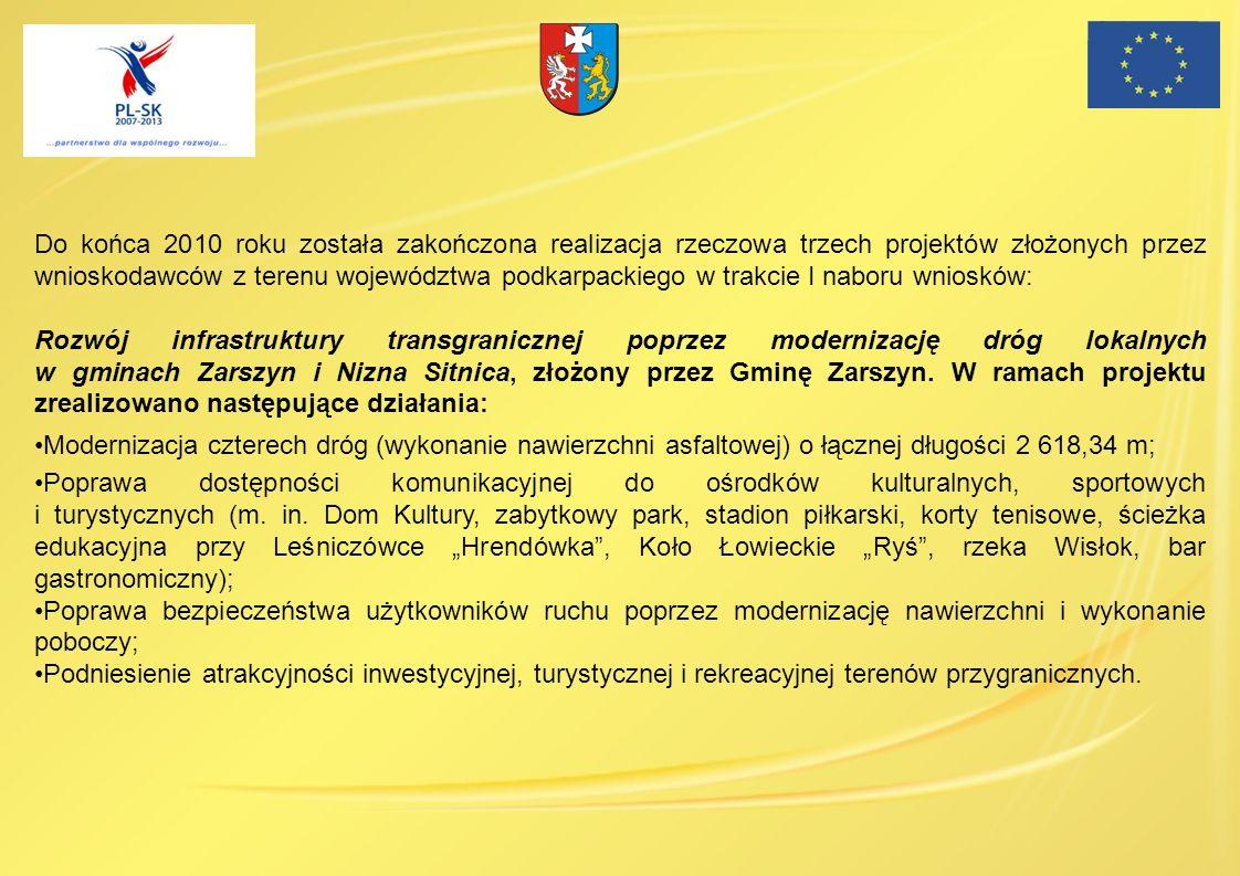 Do końca 2010 roku została zakończona realizacja rzeczowa trzech projektów złożonych przez wnioskodawców z terenu województwa podkarpackiego w trakcie I naboru wniosków: