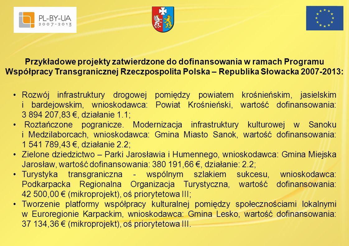 Przykładowe projekty zatwierdzone do dofinansowania w ramach Programu Współpracy Transgranicznej Rzeczpospolita Polska – Republika Słowacka 2007-2013: