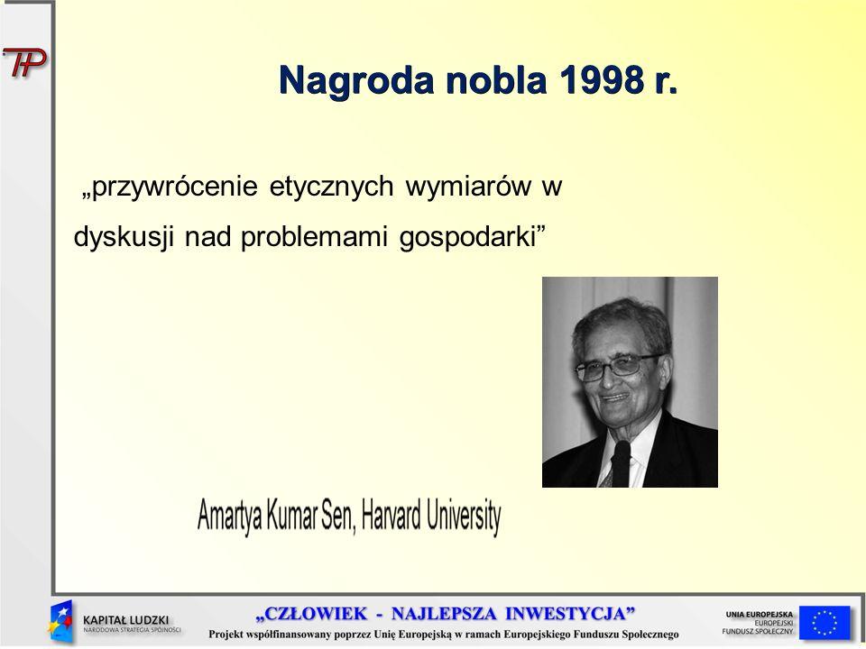"""Nagroda nobla 1998 r. """"przywrócenie etycznych wymiarów w dyskusji nad problemami gospodarki"""