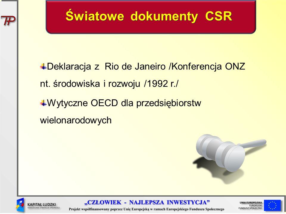Światowe dokumenty CSR