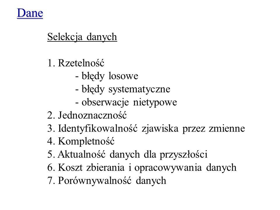 Dane Selekcja danych 1. Rzetelność - błędy losowe