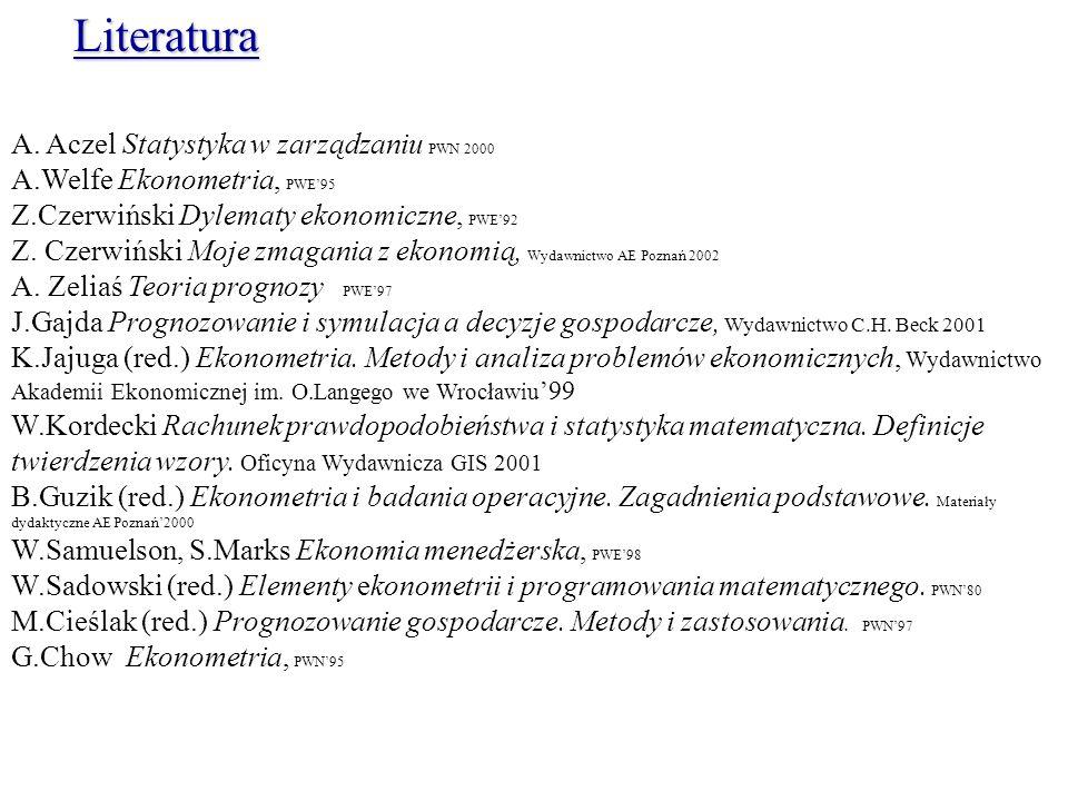 Literatura A. Aczel Statystyka w zarządzaniu PWN 2000