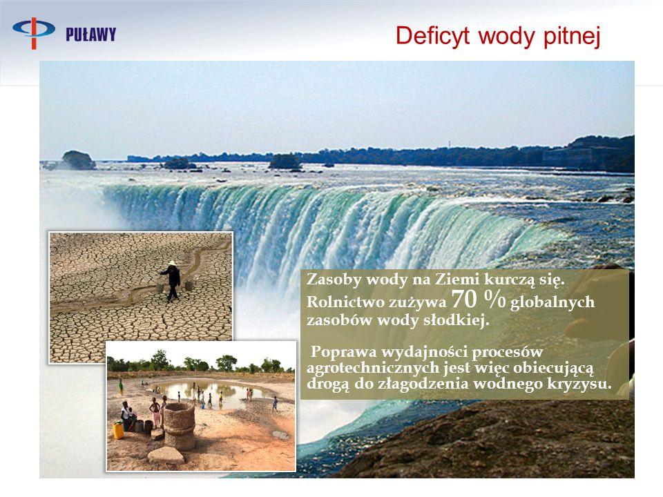 Deficyt wody pitnej Zasoby wody na Ziemi kurczą się. Rolnictwo zużywa 70 % globalnych zasobów wody słodkiej.