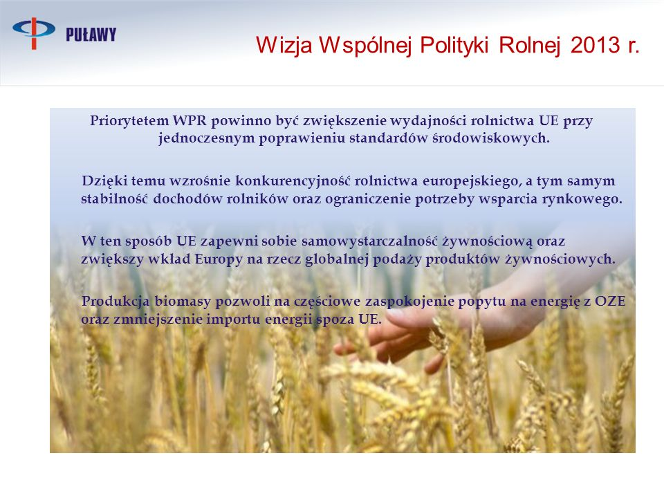 Wizja Wspólnej Polityki Rolnej 2013 r.
