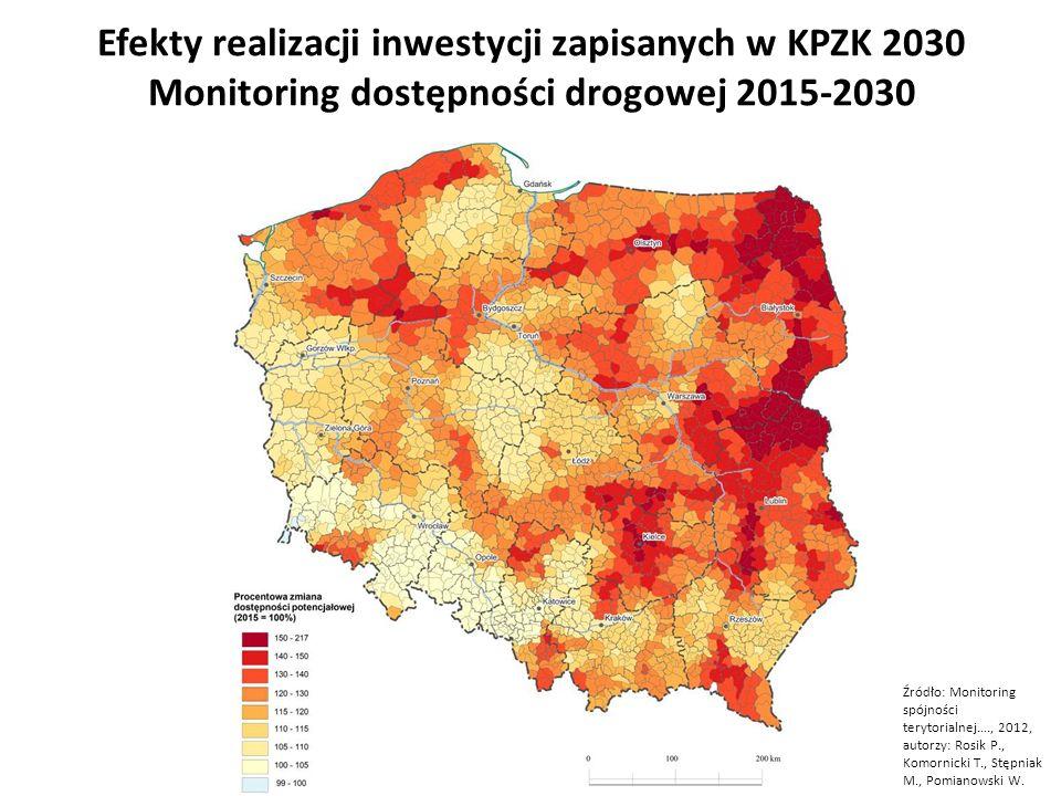 Efekty realizacji inwestycji zapisanych w KPZK 2030 Monitoring dostępności drogowej 2015-2030