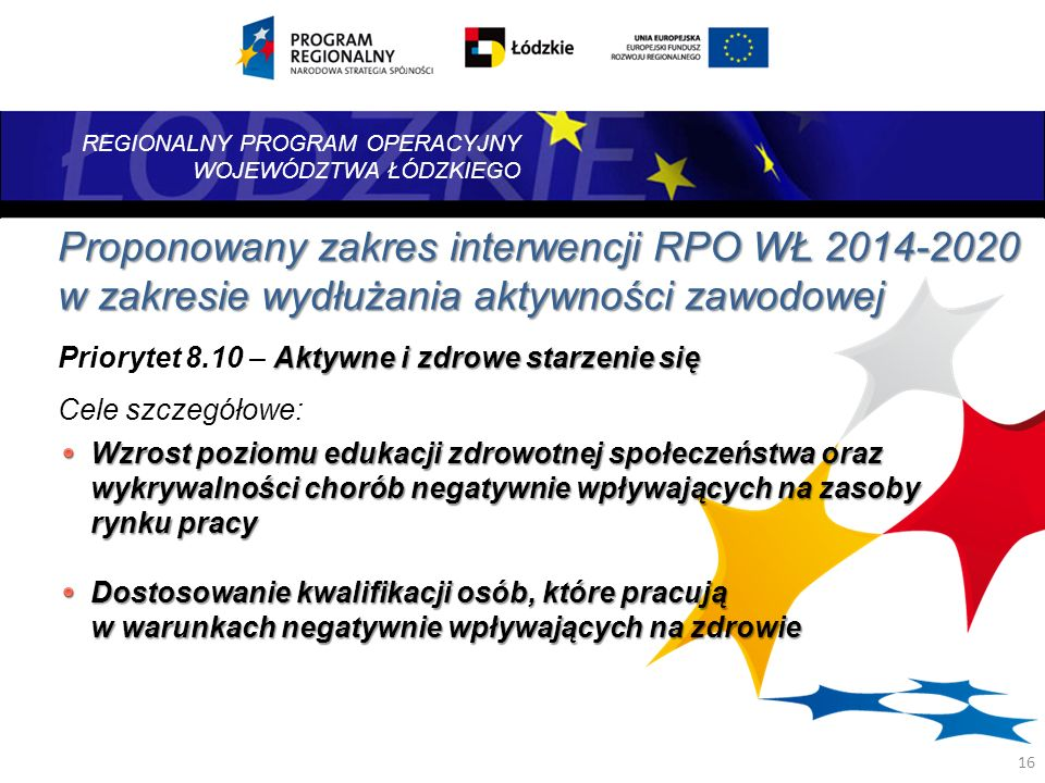 Proponowany zakres interwencji RPO WŁ 2014-2020 w zakresie wydłużania aktywności zawodowej