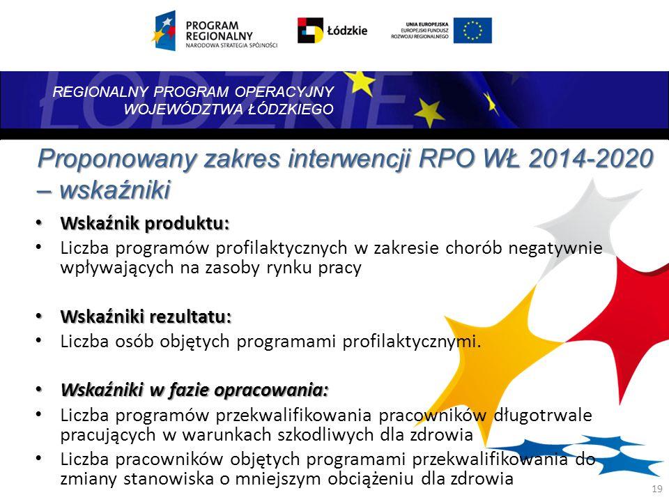 Proponowany zakres interwencji RPO WŁ 2014-2020 – wskaźniki
