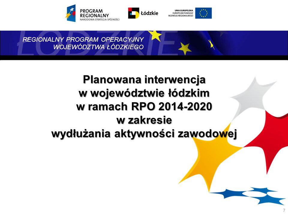 Planowana interwencja w województwie łódzkim w ramach RPO 2014-2020 w zakresie wydłużania aktywności zawodowej
