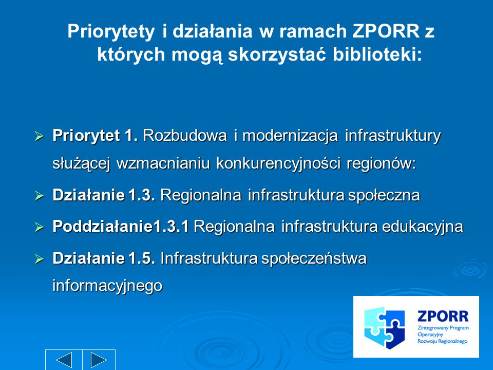 Priorytety i działania w ramach ZPORR z których mogą skorzystać biblioteki: