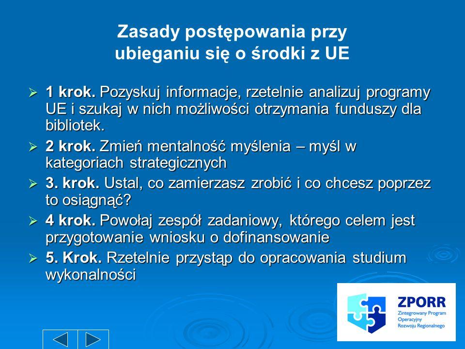 Zasady postępowania przy ubieganiu się o środki z UE
