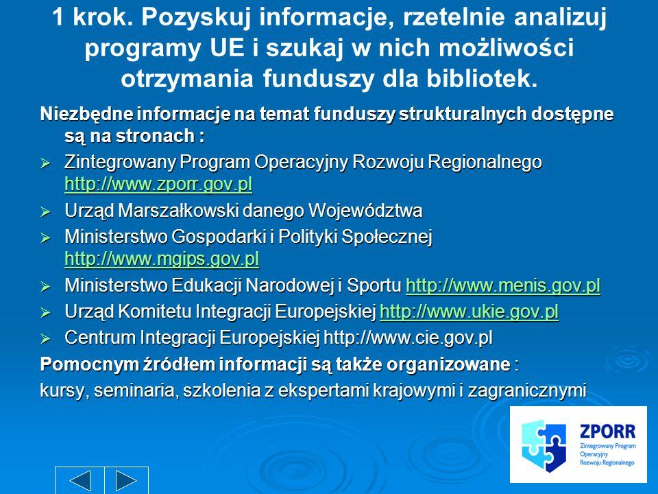 1 krok. Pozyskuj informacje, rzetelnie analizuj programy UE i szukaj w nich możliwości otrzymania funduszy dla bibliotek.