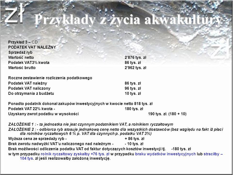 Przykłady z życia akwakultury