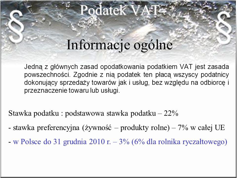 Podatek VAT Informacje ogólne