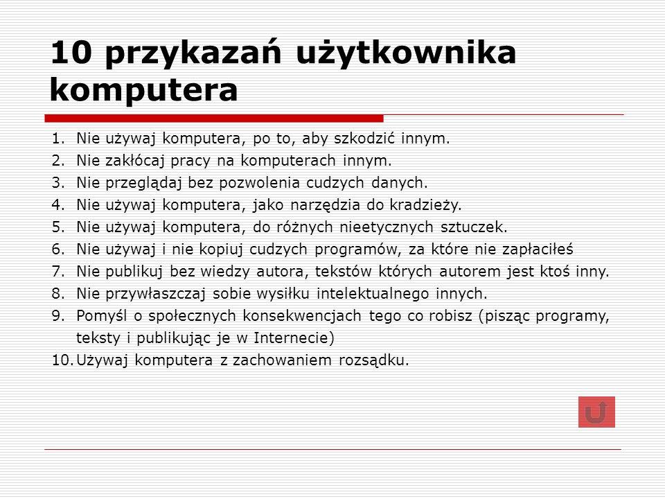 10 przykazań użytkownika komputera