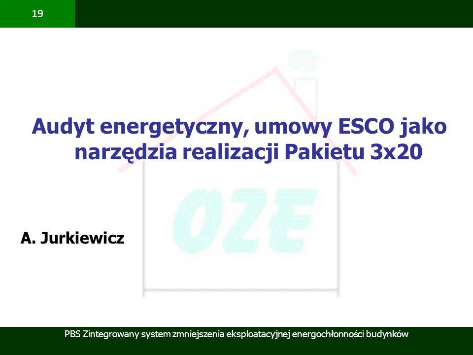 Audyt energetyczny, umowy ESCO jako narzędzia realizacji Pakietu 3x20