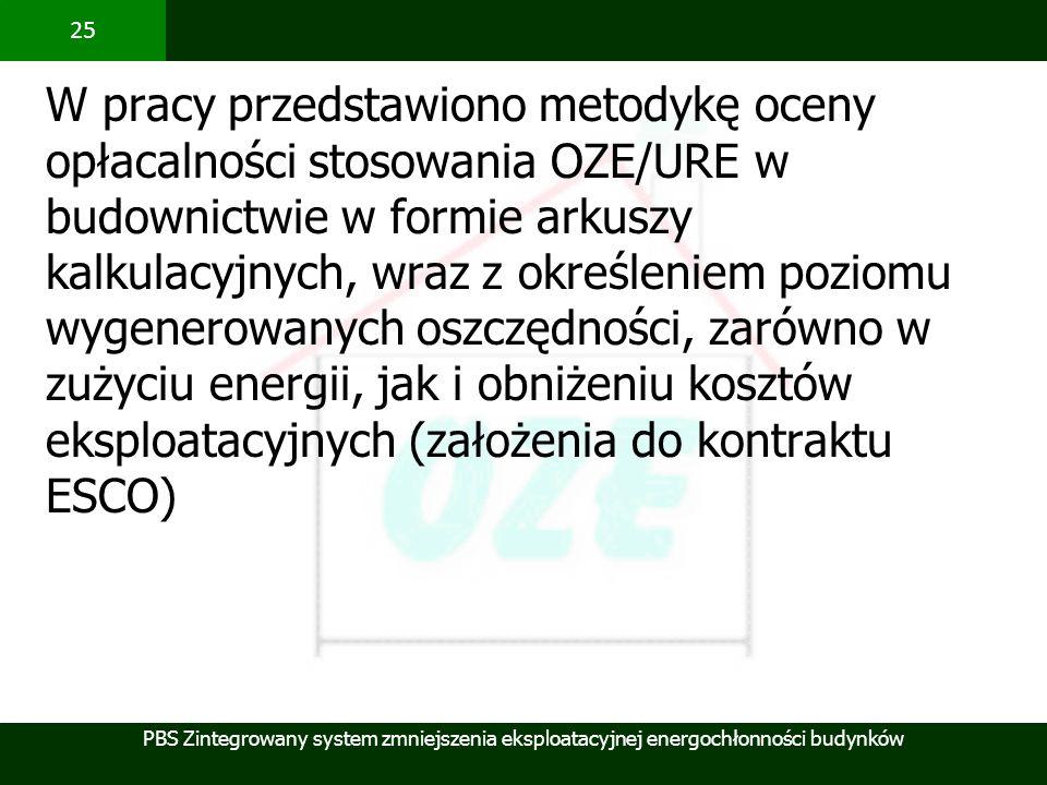 W pracy przedstawiono metodykę oceny opłacalności stosowania OZE/URE w budownictwie w formie arkuszy kalkulacyjnych, wraz z określeniem poziomu wygenerowanych oszczędności, zarówno w zużyciu energii, jak i obniżeniu kosztów eksploatacyjnych (założenia do kontraktu ESCO)