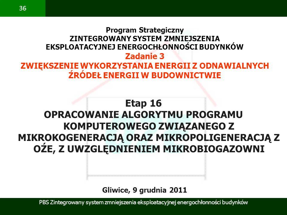 Program Strategiczny ZINTEGROWANY SYSTEM ZMNIEJSZENIA. EKSPLOATACYJNEJ ENERGOCHŁONNOŚCI BUDYNKÓW. Zadanie 3.