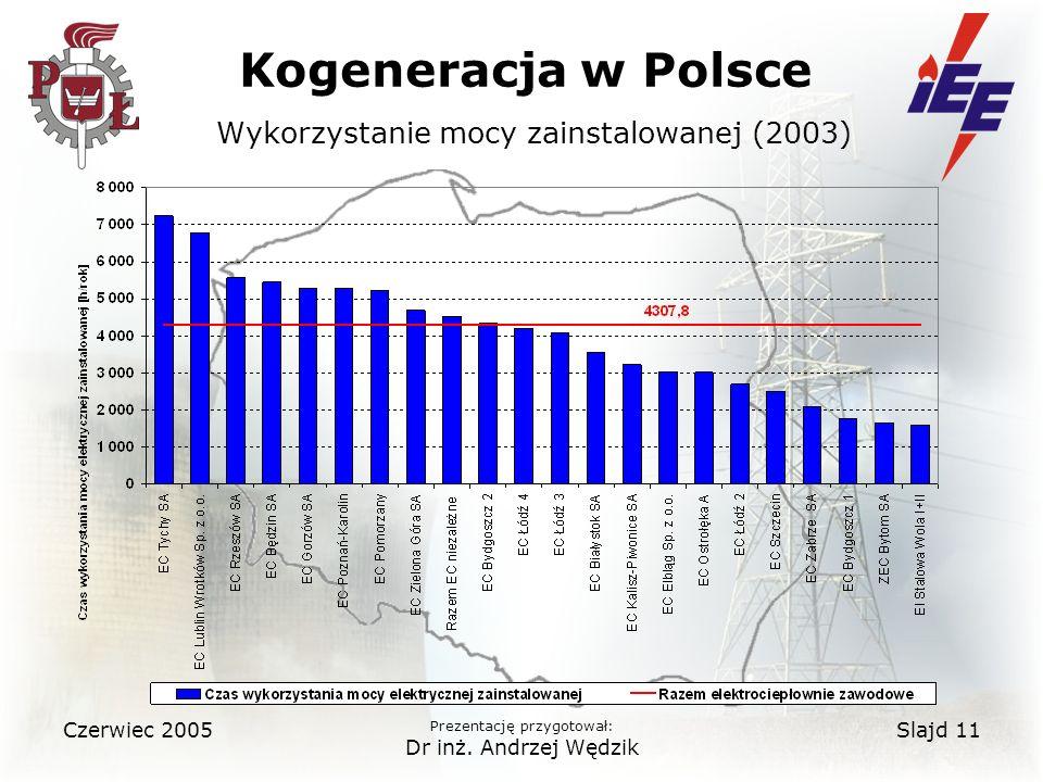 Kogeneracja w Polsce Wykorzystanie mocy zainstalowanej (2003)