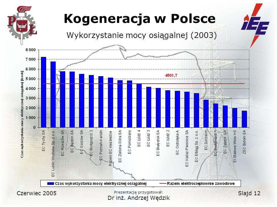 Kogeneracja w Polsce Wykorzystanie mocy osiągalnej (2003)
