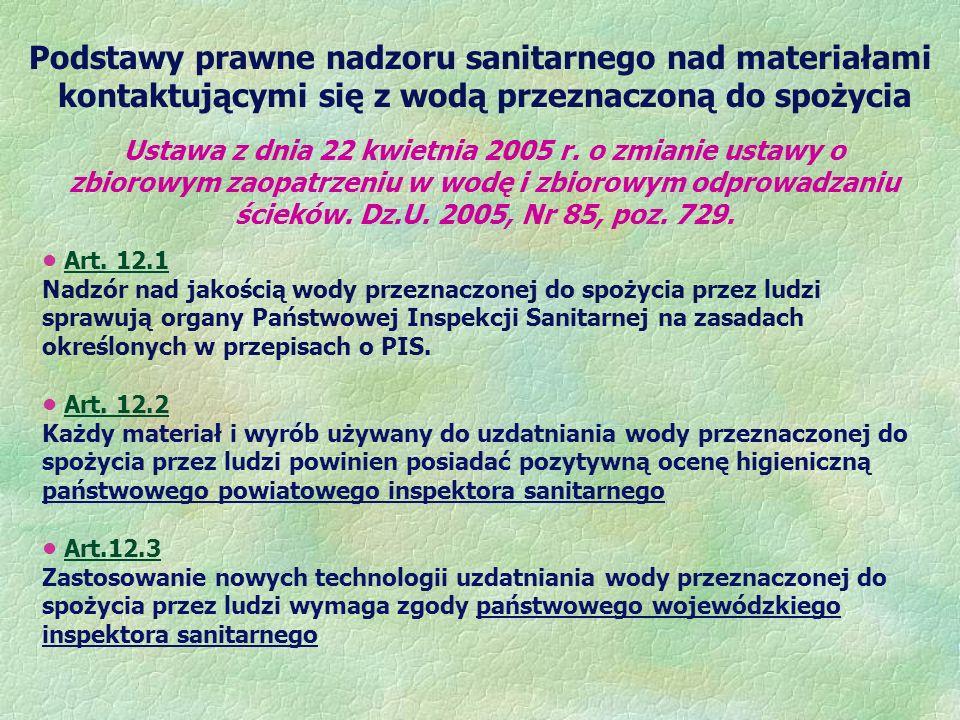Podstawy prawne nadzoru sanitarnego nad materiałami