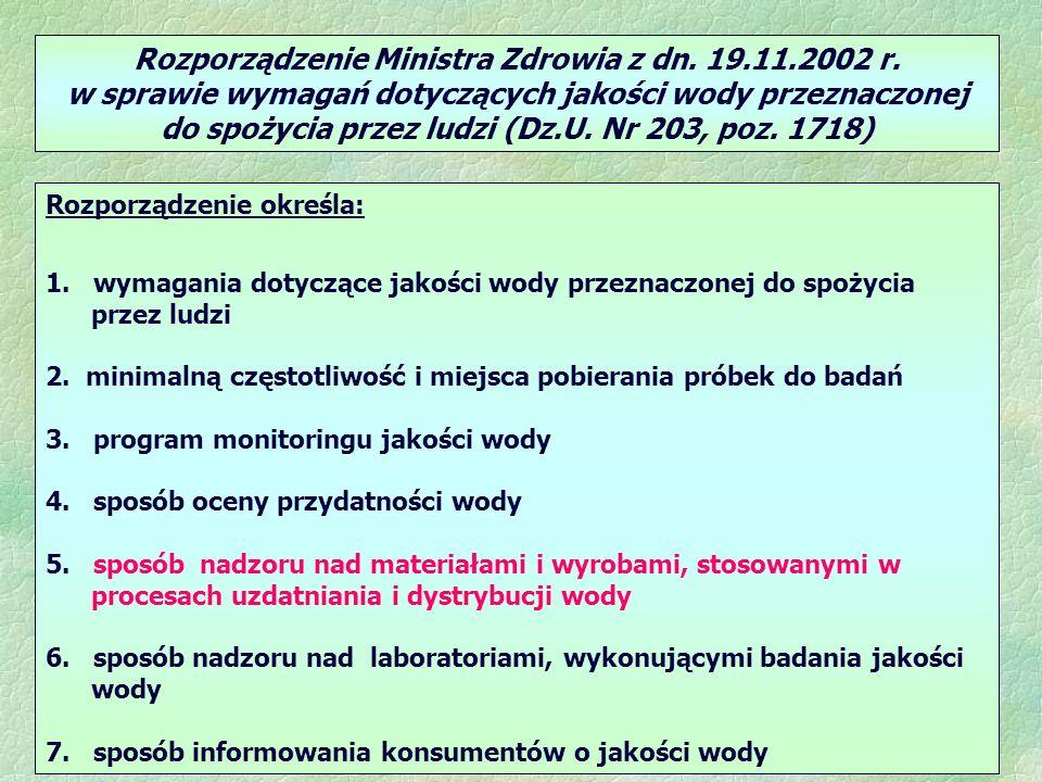 Rozporządzenie Ministra Zdrowia z dn. 19.11.2002 r.