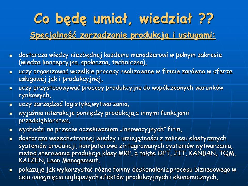 Specjalność zarządzanie produkcją i usługami: