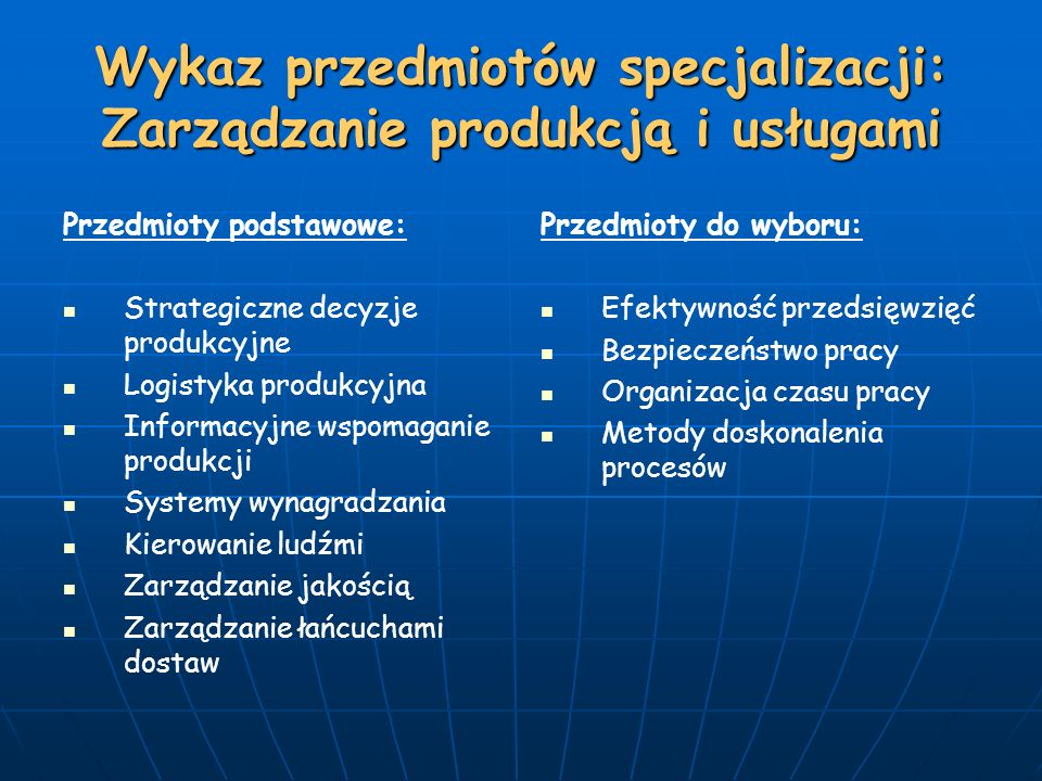 Wykaz przedmiotów specjalizacji: Zarządzanie produkcją i usługami