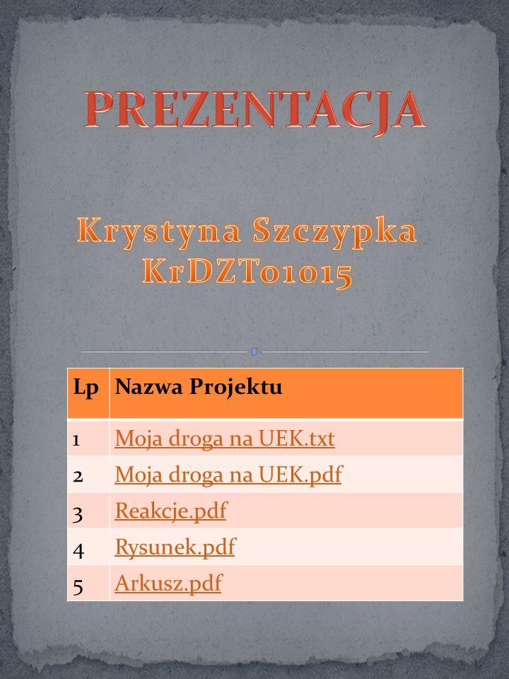 PREZENTACJA Krystyna Szczypka KrDZTo1015 Lp Nazwa Projektu 1