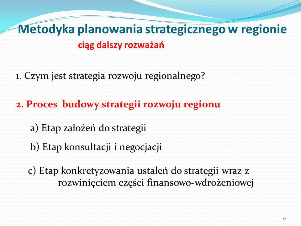 Metodyka planowania strategicznego w regionie ciąg dalszy rozważań