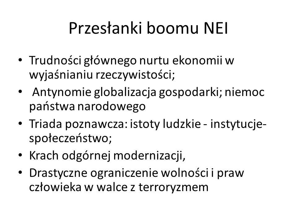 Przesłanki boomu NEI Trudności głównego nurtu ekonomii w wyjaśnianiu rzeczywistości; Antynomie globalizacja gospodarki; niemoc państwa narodowego.