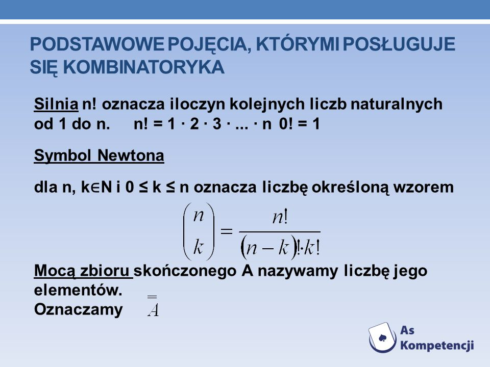Podstawowe pojęcia, którymi posługuje się kombinatoryka
