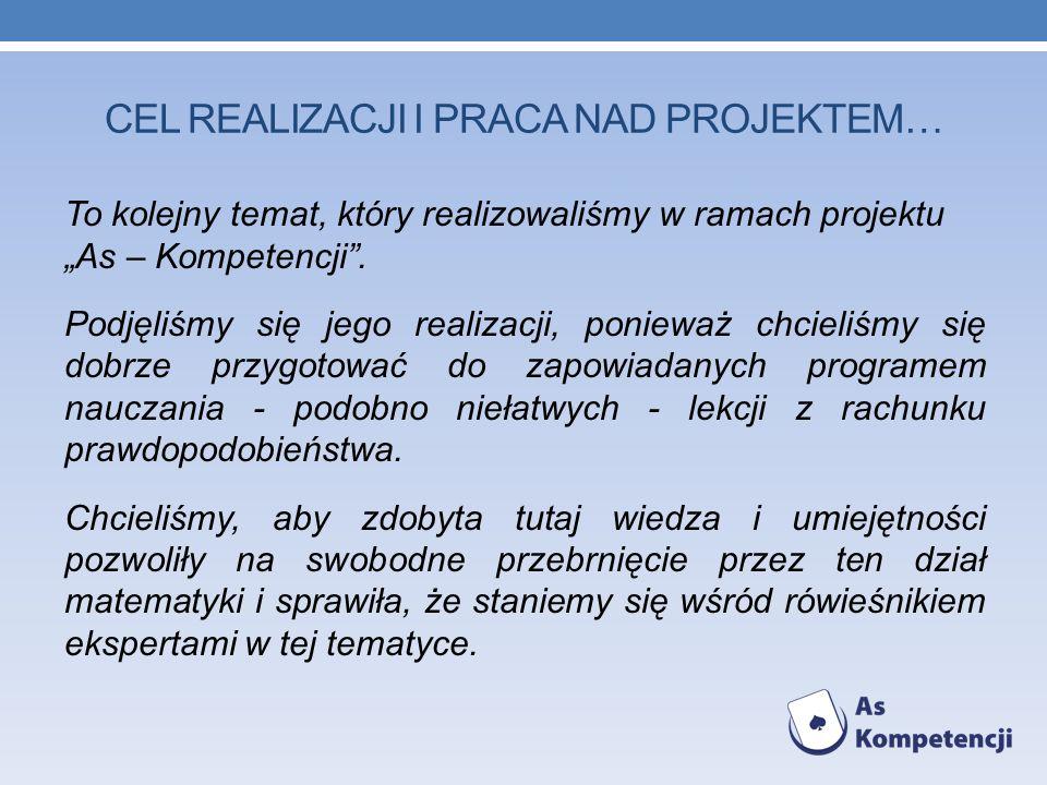 CEL realizacji I praca nad projektem…