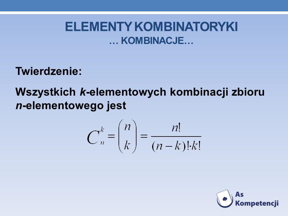 ELEMENTY KOMBINATORYKI … kombinacje…