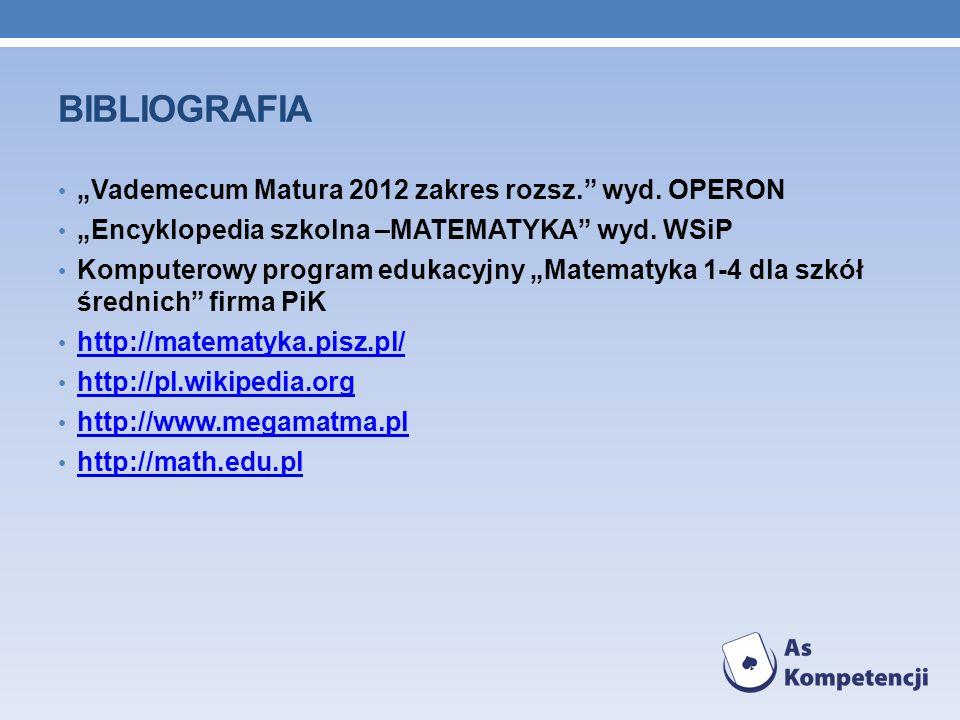 """Bibliografia """"Vademecum Matura 2012 zakres rozsz. wyd. OPERON"""