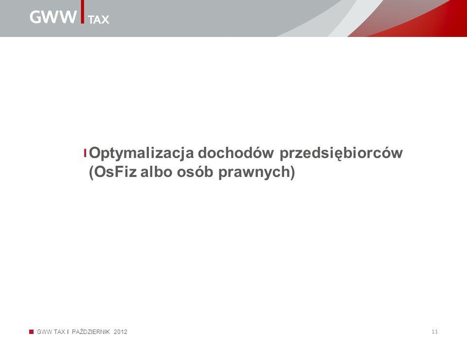 Optymalizacja dochodów przedsiębiorców (OsFiz albo osób prawnych)