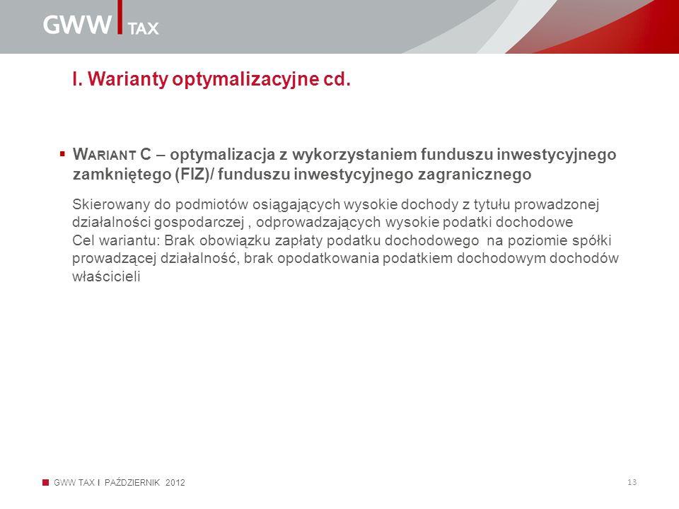I. Warianty optymalizacyjne cd.