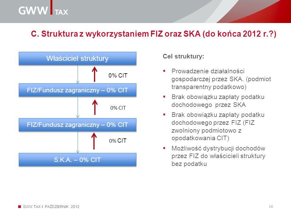 C. Struktura z wykorzystaniem FIZ oraz SKA (do końca 2012 r. )
