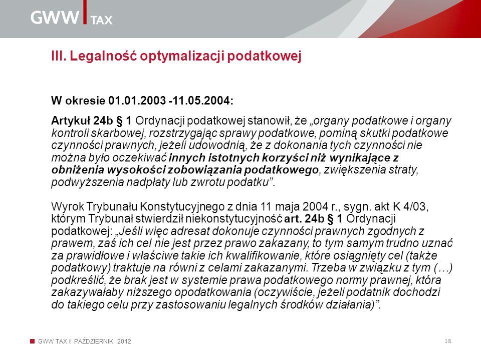 III. Legalność optymalizacji podatkowej